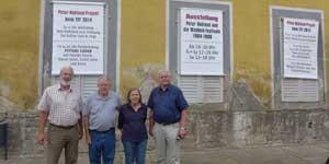 Das Ausstellerteam Dedo Asshoff, Bruder von Peter Rohland, Joachim Michael (Mike), Traute Michael und Wolfgang Züfle (Dex) am 7. Juli 2014 auf der Heidecksburg, (Foto: Hanne Asshoff)